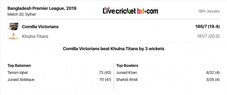 Comilla Victorians beat Khulna Titans by 3 wickets